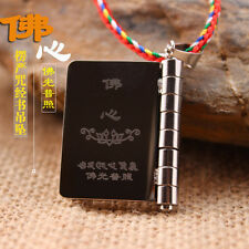 Buddhist Scripture - Shurangama Mantra Charm Book Design Titanium Steel Necklace