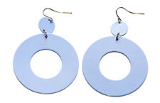 80's Inspired & Gorgeous Baby Blue /easy Hook on round Metal Earrings(A13/zx174)