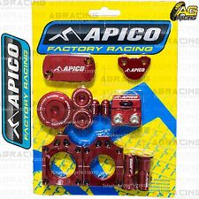 Apico Bling Pack Red Blocks Caps Plugs Clamp Covers For Honda CRF 450X 2005-2016