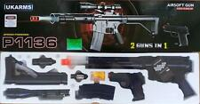 2 Airsoft Guns Ukarms P1136 Rifle P618 Pistol Laser Flashlight Scope + 2K 6mm BB