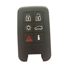 Black 6 Buttons Silicone Remote Key Fob Skin Cover Protector Jacket for Volvo