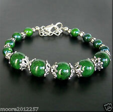 Beautiful handmade Tibet style Tibet silver green jade bracelet 7.5 ~ 8 inches