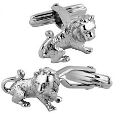 NEW ARI D NORMAN 925 STERLING SILVER LION SWIVEL CUFF LINKS GIFT BOX