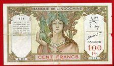 (Ref: L.180) 100 FRANCS BANQUE DE L'INDOCHINE PAPEETE NON DATÉ (TTB) 1961