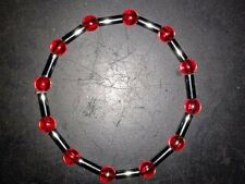 BRACELET - RAINBOW RED BEADS WITH METAL TUBE - (26)