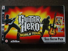 PS3 Guitar Hero World Tour Fender controlador, Correa, receptor & juego BOXED PAL