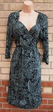 ETAM BLACK GREEN WRAP BELTED PAISLEY FLORAL SKATER A LINE FLIPPY TEA DRESS 14 L
