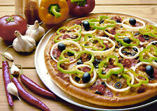 Framed Print - Still Life Pizza Garlic Peppers Olives Chillies (Picture Poster)