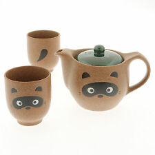 3 PCS. Japanese Porcelain Tanuki Raccoon Tea Pot Cups Set, Made in Japan 110-609