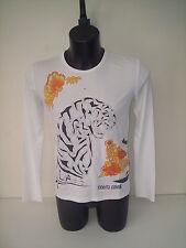 T-SHIRT ROBERTO CAVALLI,giro collo ,col bianco e arancio tigre tg 48