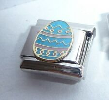 BLUE EASTER EGG Italian Charm - Happy Bunny 9mm fits Classic Starter Bracelets