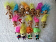 Lot of 16  Mixed Vintage Russ Ace Applause TROLL Dolls Necklace