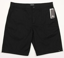 Men's QUIKSILVER Black Gray Striped Shorts 33 NWT NEW Awesome!