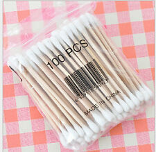 100x Double-head Wooden Cotton Swab Tip For Medical Cure Health Make-up Stick g9
