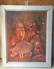 Vintage Collectible European Fairy Tale Fantasy Mystical Oil Canvas Painting
