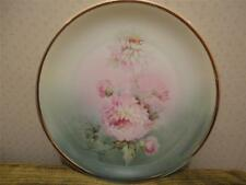 Antique Silesia Altwasser CT Painted Pink White Roses Flower Plate w Gold Trim
