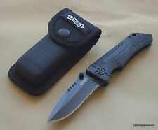 WALTHER PPX LINERLOCK FOLDING KNIFE WITH CLIP & NYLON POUCH - 7.75 INCH OVERALL