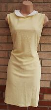 DOROTHY PERKINS YELLOW WHITE PETER PAN NECK QUILTED FEEL TUBE BODYCON DRESS XL