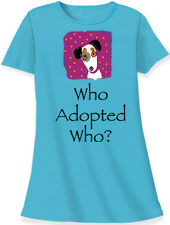 "Relevant animal design dog rescue blue cotton sleep shirt ""who adopted who"""