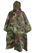 US Army Style Woodland Ripstop Poncho Combat Military Hooded Waterproof Cape