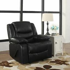 Bonded Leather Black Single Seat Recliner and Rocking Chair