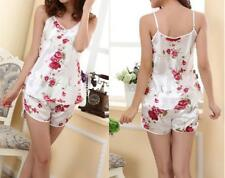 Women Sexy Flower Sleepwear Braces Shirts+Shorts Underwear Pajamas Robes Set