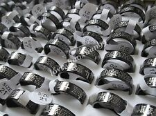 Wholesale 100Pcs English the serenity prayer Stainless Steel Etching Band Rings