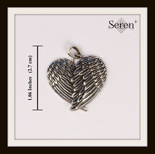 STERLING SILVER ANGEL WINGS HEART PENDANT ~ FREE FAST P&P