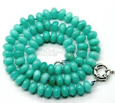 """5x8mm Turquoise Blue Oval Jade Abacus Gemstone Necklace 18"""""""