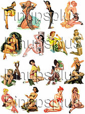 Rockabilly WWII Nose Art Pinup Girl Waterslide Decals for guitars & More #37