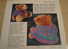 "Dolly Faroese Shawl Teddy Bears 18"" Dolls Heartstrings hand knitting pattern"