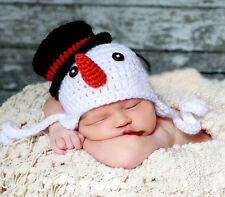 Baby Xmas Christmas Snowman Beanie Crochet  Beanie Hat Knitted Photography Prop