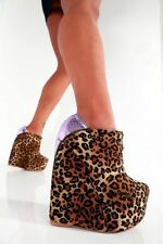 GIARO HIGH HEELS SHOES UK5.5 6 EU39 ZIP WEDGES LEOPARD SEXY FETISH CD PLEASER