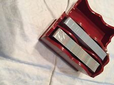 Vtg 1960's Orange Red Lacquer Wood 2 Part 2 Pack Card Box W/sealed Cards