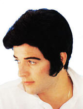 Negro Elvis Peluca con Quiff Y Laterales Burns Danny Greese Fancy Dress