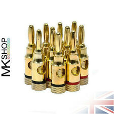 10x Banana Plug Gold Plated 4mm Screw Audio Speaker Cable Wire Connector Music