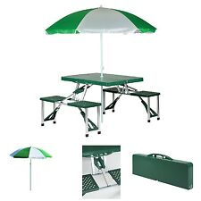 Picnic Table Set Folding Portable Umbrella Beach 4 Seat Outdoor Camping Foldable