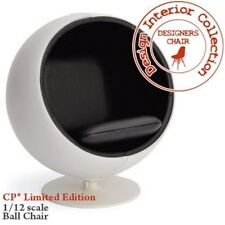 Eero Arunio Ball Chair In White & Black (Limited Edition), Dolls House Miniature