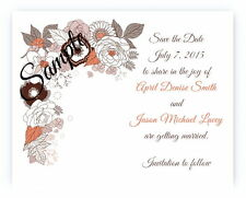 100 Personalized Custom Orange Brown Floral Bridal Wedding Save The Date Cards