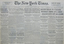 10-1935 October 15 AKSUM YIELDS TO ITALIANS WITHOUT A SHOT. LEAGUE CUT OFF LOANS