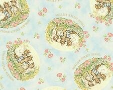 Beatrix Potter 3 Little Kittens Pale Blue Cotton Quilting Fabric Fat Quarter
