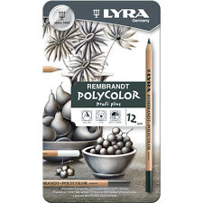 LYRA REMBRANDT POLYCOLOR PROFI PLUS PENCILS - TIN of 12 COLOURED ARTIST PENCILS