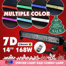 14inch168W RGB LED Light Bar Offroad Strobe Bluetooth Music Flashing Multi Color