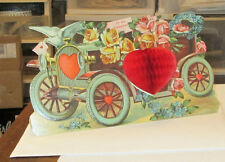 NEW VICTORIAN STAND UP VALENTINES DAY HONEYCOMB ANTIQUE CAR DIECUT GREETING CARD