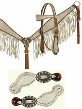 BLING! WESTERN SADDLE HORSE LEATHER BRIDLE & FRINGE BREAST COLLAR & SPUR STRAPS