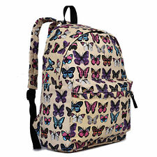 Ladies Girls School Canvas Backpack Travel Rucksack Bag Purse Satchel Butterfly