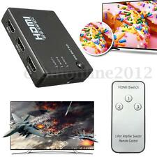 SWITCH HDMI HUB 1080p 3 PORTE FULL HD TV PRESA MULTIPLA ADATTATORE con Remote