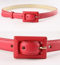 VALENTINO RED LEATHER BELT WITH RED LEATHER COVERED BUCKLE SZ 8