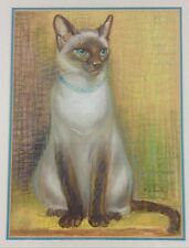 Siamese Cat Original Painting Portrait Drawing In Pastel 16 X 19