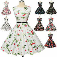 GK Vintage Cotton Sleeveless Swing 40's 50's Pinup EVENING Dots Dress